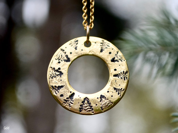 Starstruck in the Forest Round Washer Necklace
