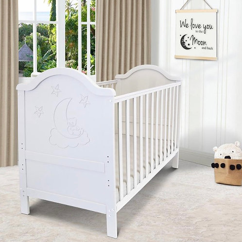 iSafe Wendy Cot Bed in White with Free Mattress