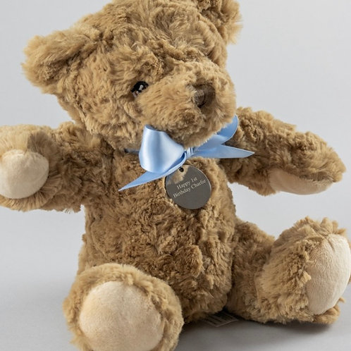 Personalised Bramble the Bear - Blue Bow