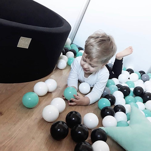 Meowbaby 40cm Tall Black Round Ballpit with 200 Balls
