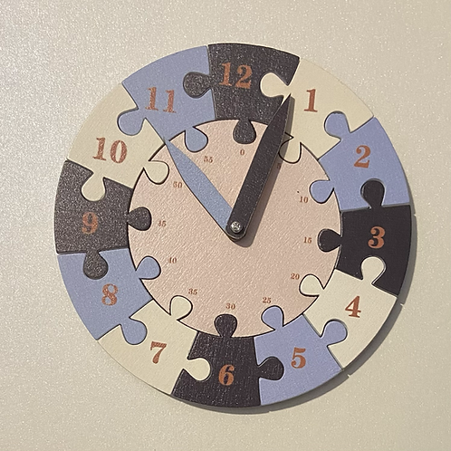 Wooden Time Teaching Clock - Blue