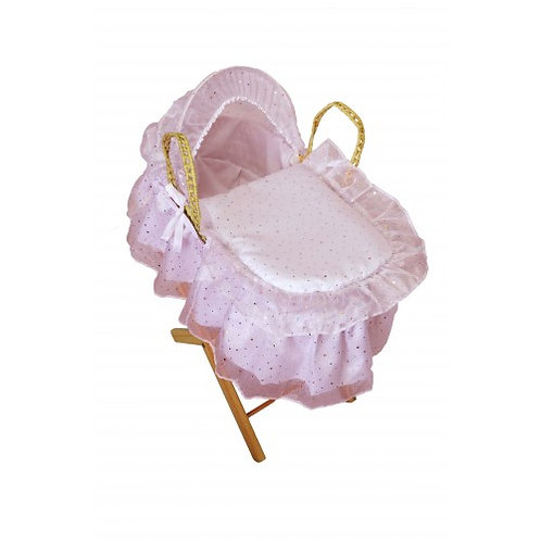 Premium Dolls Moses Basket & Stand -White or Pink