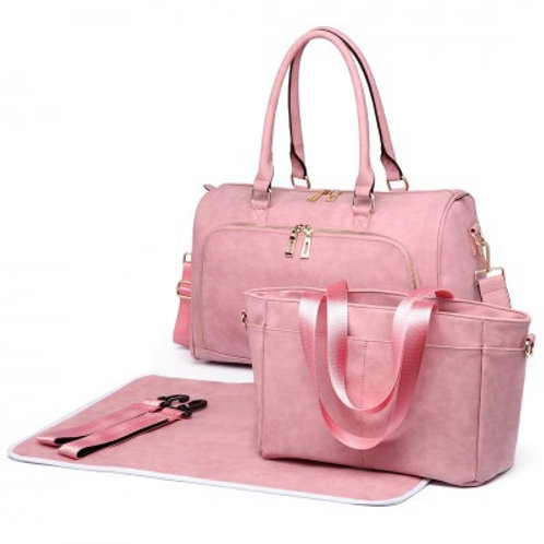 Pink Leather Look Changing Bag