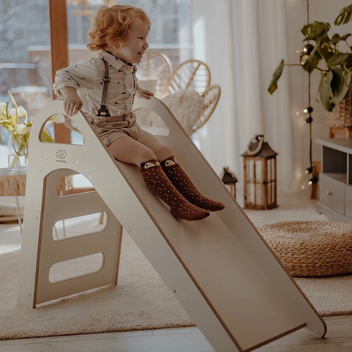 Meowbaby Kids Wooden Slide - Grey or White