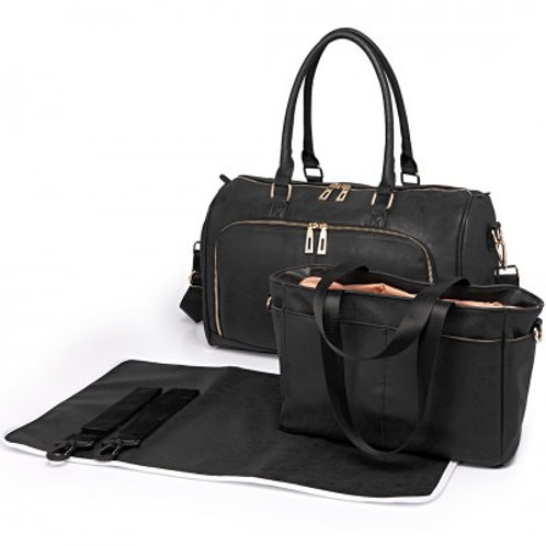 Black Leather Look Changing Bag