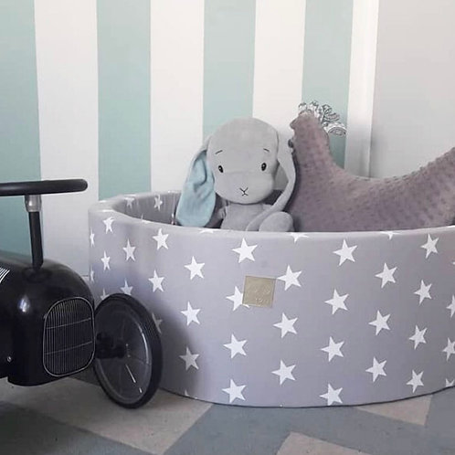 Meowbaby 40cm Tall Grey Stars Round Ballpit with 200 Balls