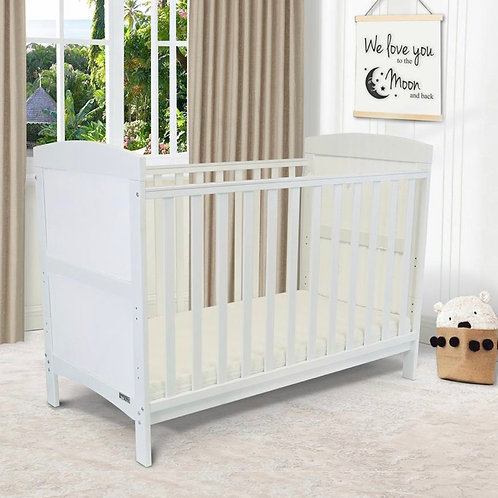 iSafe Arnie Cotbed in White with Free Mattress