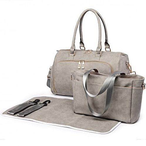 Light Grey Leather Look Changing Bag