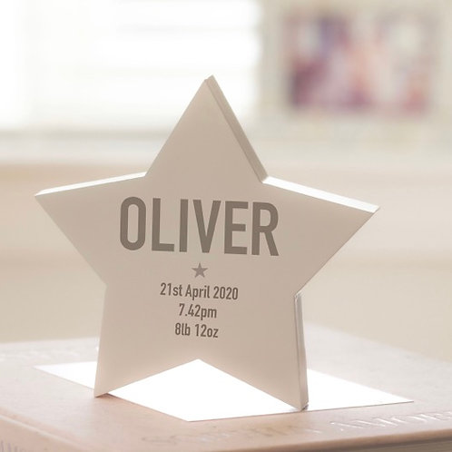 Modern Personalised Wooden Star