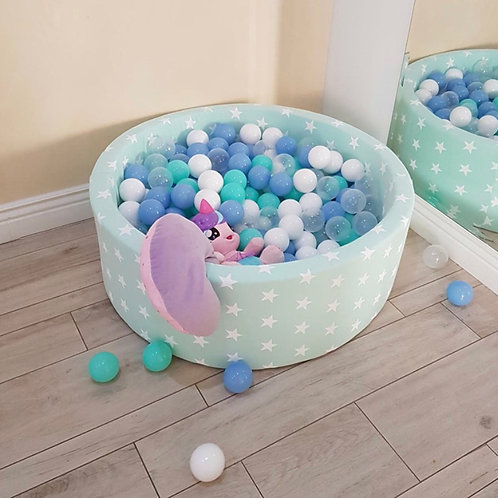 Meowbaby 30cm Tall Mint Stars Round Ballpit with 200 Balls