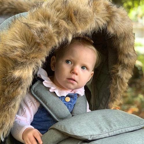 My Babiie Luxury Pram Fur in Brown