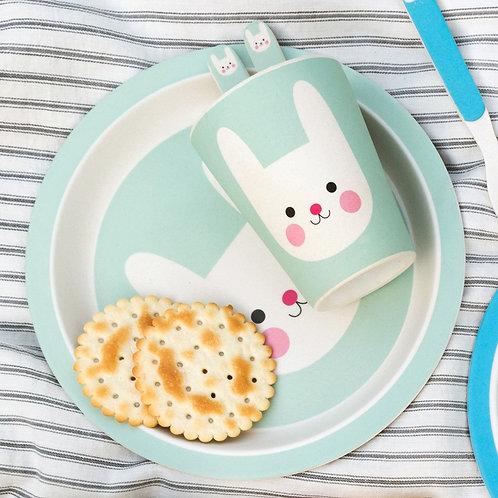 Bamboo Blue Bunny Dinner Set