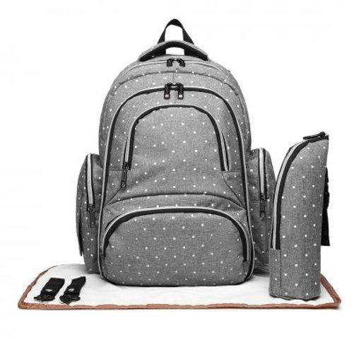 Grey Dot Oval Changing Bag