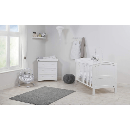 East Coast 'Alby' Cot Bed & Dresser - White