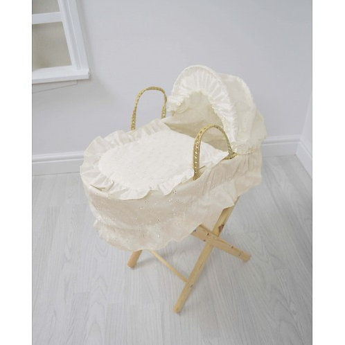 Dolls Moses Basket & Stand -White, Cream or Pink