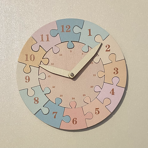 Wooden Time Teaching Clock - Pastel