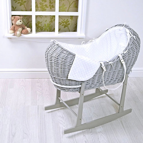 Grey Wicker Pod with White Dimple Bedding