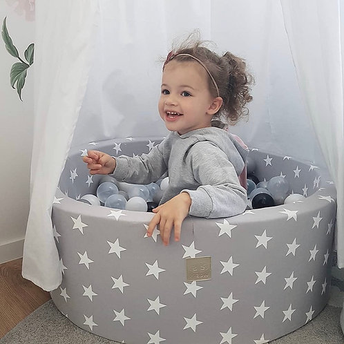 Meowbaby 30cm Tall Grey Stars Round Ballpit with 200 Balls