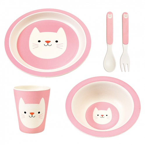 Bamboo Pink Cat Dinner Set