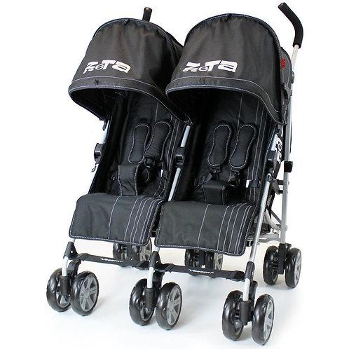 Zeta Voom Twin Stroller in Black