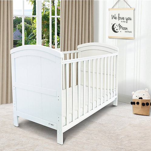 iSafe 'Liam' Cotbed in White with free mattress