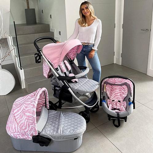 Dani Dyer Pink & Grey Travel System