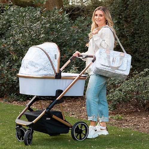 Dani Dyer Rose Gold Marble Travel System