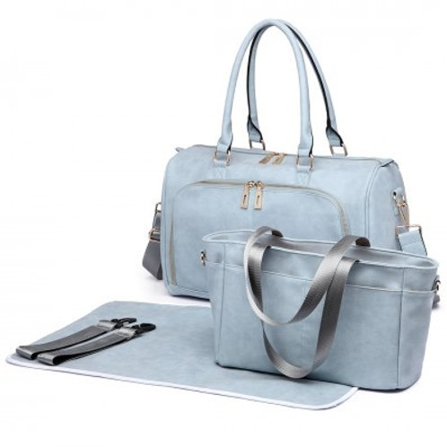 Light Blue Leather Look Changing Bag
