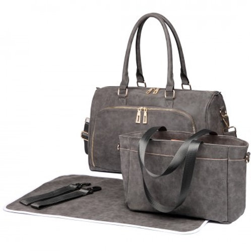 Grey Leather Look Changing Bag