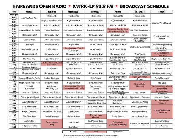 KWRK-LP Broadcast Schedule (2020-04-17).