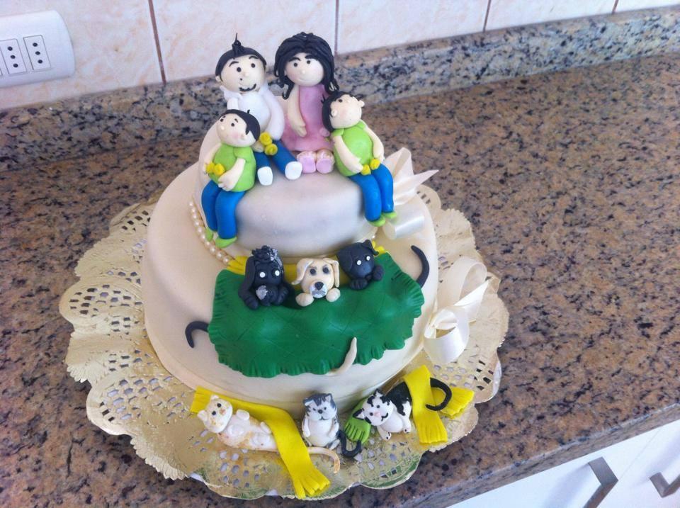 Pastel familia y mascotas