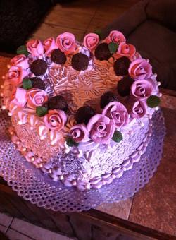 Torta corazón lila