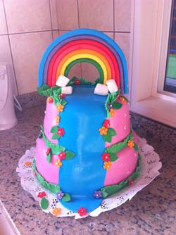 Pastel jardín y arcoiris