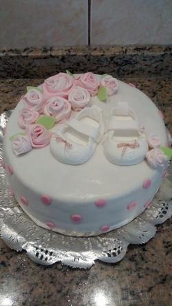 Pastel zapatitos y rosas
