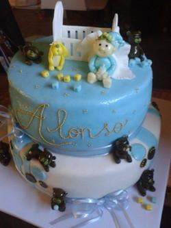 Pastel de bautismo Alonso