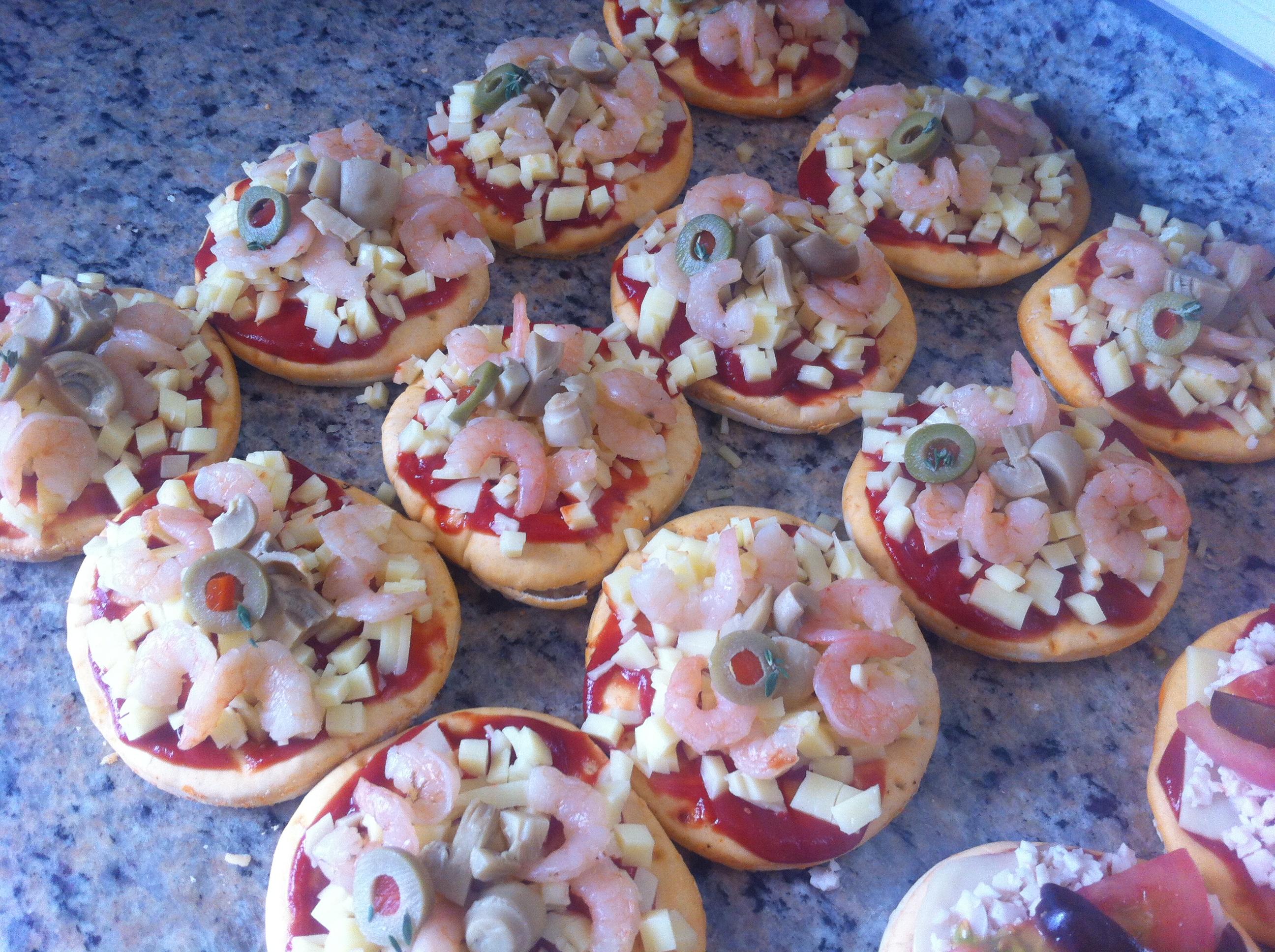Mini pizza queso y camarón