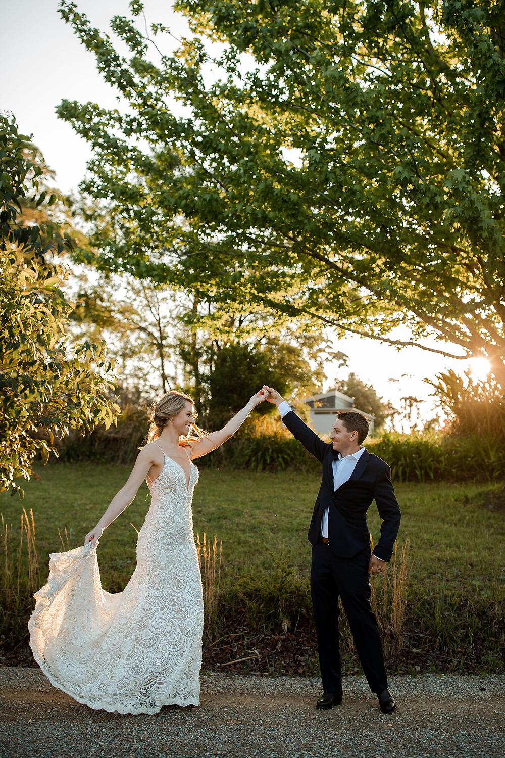 Couple dancing in the golden sunlight