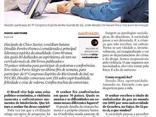 Zero Hora publica clipping do 9º Congresso Espírita do RS e entrevista com Divaldo Franco.