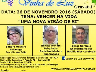 Participe do 2º seminário médico espírita da S.B.E. Vinha de Luz de Gravataí/RS