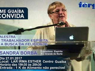 Em janeiro, palestra com Sandra Borba em Guaíba/RS.