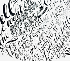 A conversation: pen and ink hand lettering