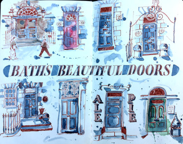 Walking around Bath and sketching the doors and wall signage