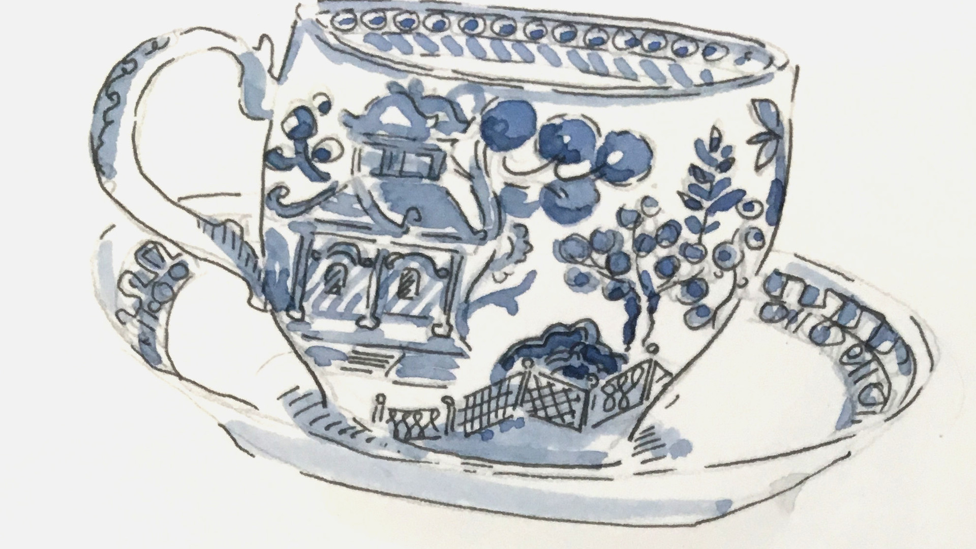 Willow Pattern Cup and Saucer Study