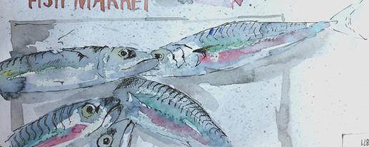 Sketch from the fish market in Venice