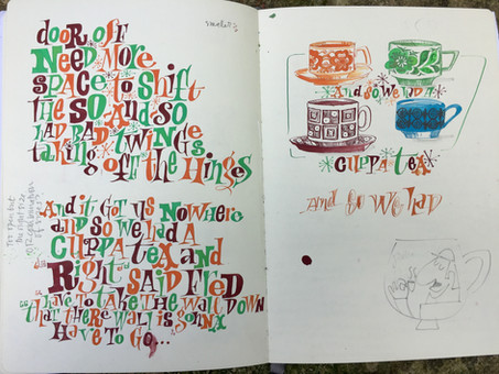 Painted Lettering with Tea Cups