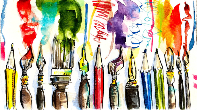 Art Materials: Pen and ink with a watercolour wash