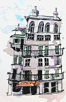 Verona Travel Journal: Wonky House Illustration