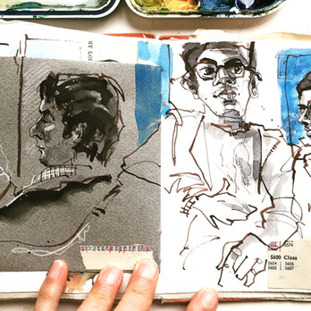 Train Sketching on the way to the airport