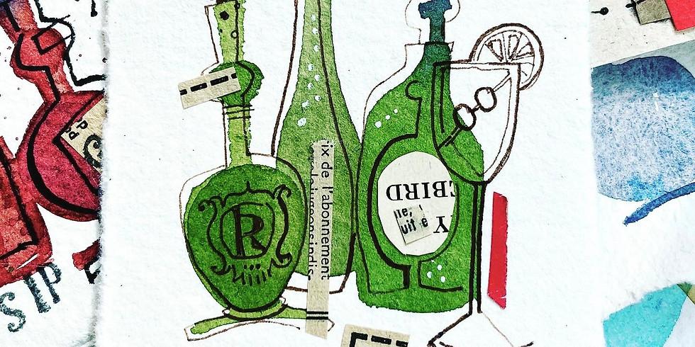 Watercolour Wednesday 3: Boozy Bottles