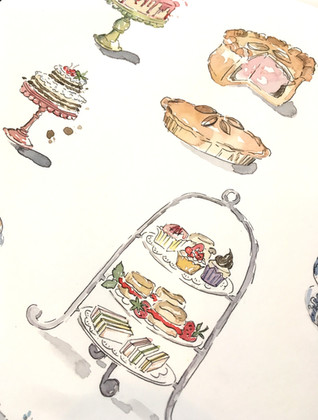 Cake Illustration in Watercolour, Pen and Ink